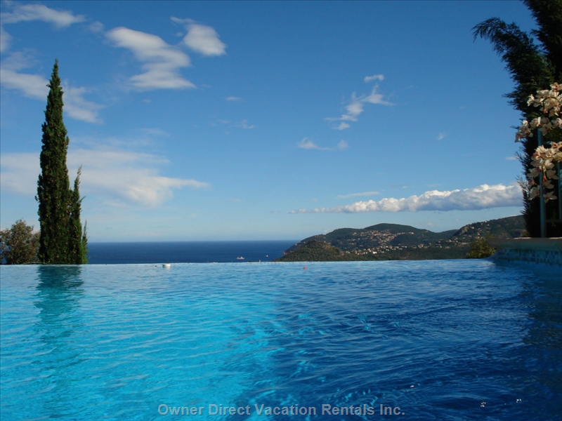 Panoramic sea view from the pool of  delightful modern villa, ID#53140