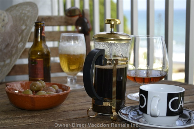 Enjoy a mid morning coffee with brandy with seaview