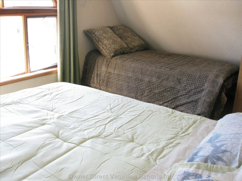 Bedroom 1, Upstairs, Showing Additional Single Bed, and Lots of Light from Huge Window