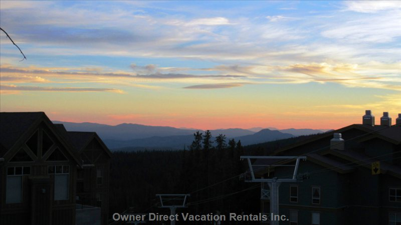 Sunset Looking over Plaza Chair and Mountains from the Deck.