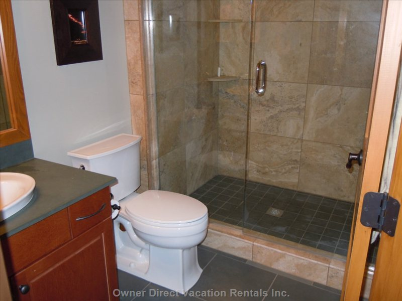 Ensuite for Master Bedroom #1 - Glass and Travertine Shower