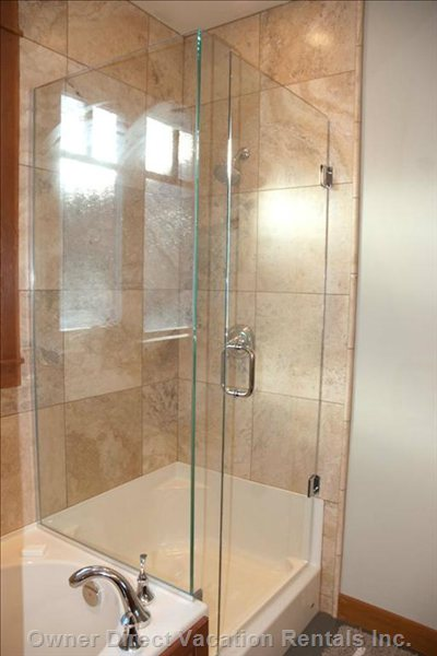 Ensuite for Master Bedroom #2 - Glass and Travertine Shower, Bathtub