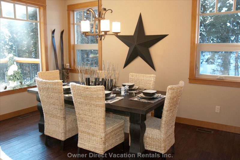 Dining Area - Large Heavy Timber Dining Table; plus 6 Bar Stools at Counter and Island