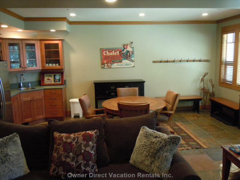 Lower Level Living Area - Large Open Lower Level Living Area with Kitchenette, Dining Table, Fireplace