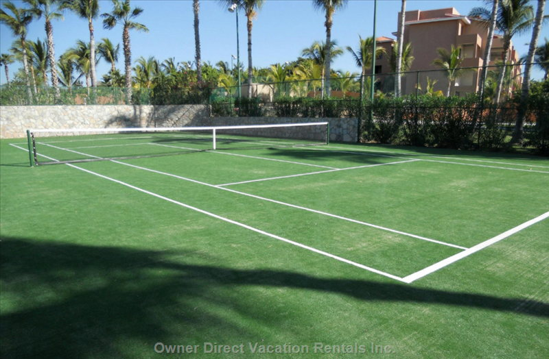There are Two Courts, both are Lit, one is Grass