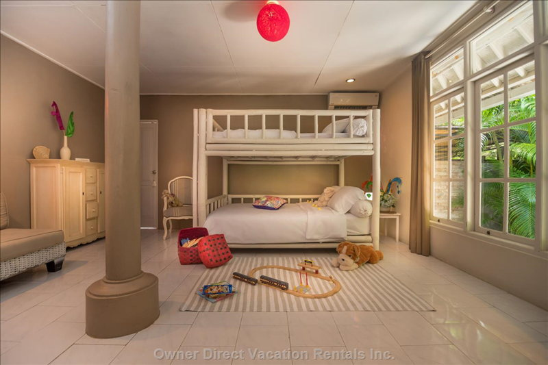 Bedroom 3. Jumbo Bamboo Bunk-Bed 140 X 200 Cm,  Kids Heaven, Toys, Kids Books, Writing Desk. Cabinets. Bathroom with Shower & Toilets