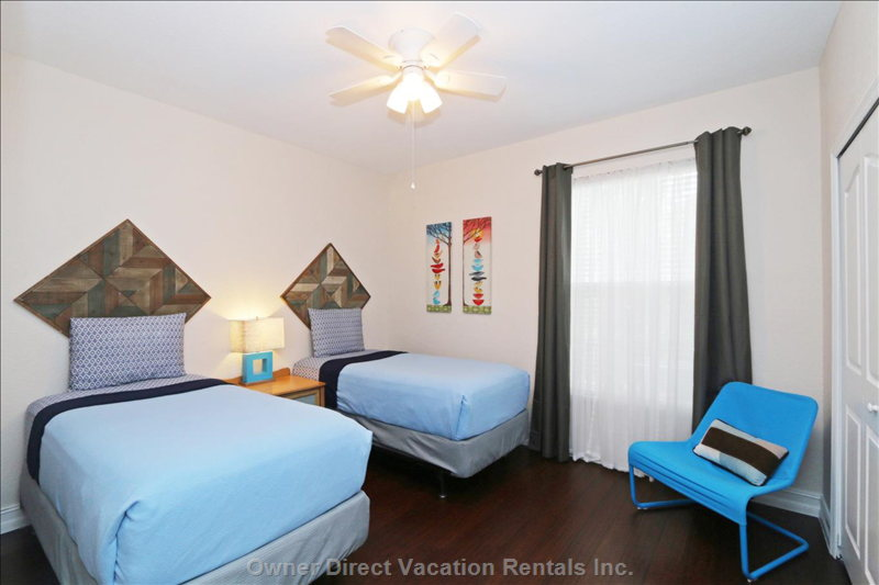 Bedroom 4 with Twin Beds, Large Closet, Ceiling Fan and Air Conditioning