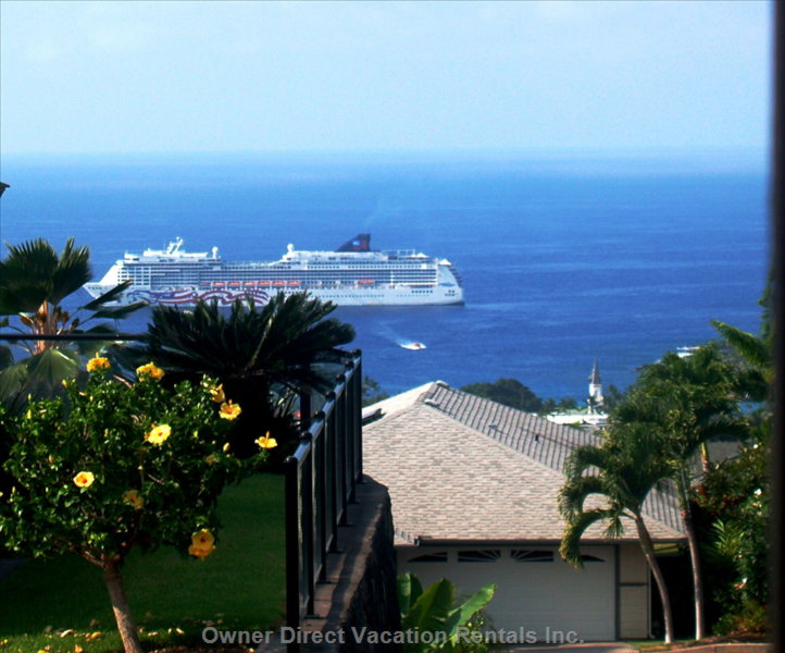 View from the Lanai Every Wednesday all Day - Every Wednesday the Cruise Ship Sits in the Harbor and you Can Watch the Activity of the Guests Shuttled to the Town by Smaller Boats