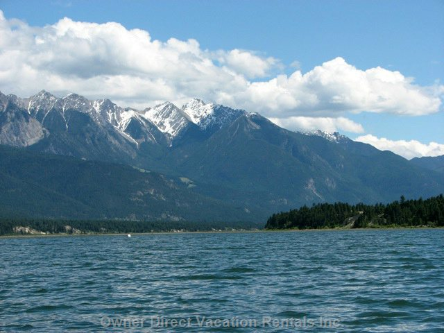 Lake Windermere is Great for Boating.  Rocky Mountains on one Side Purcells on the Other.