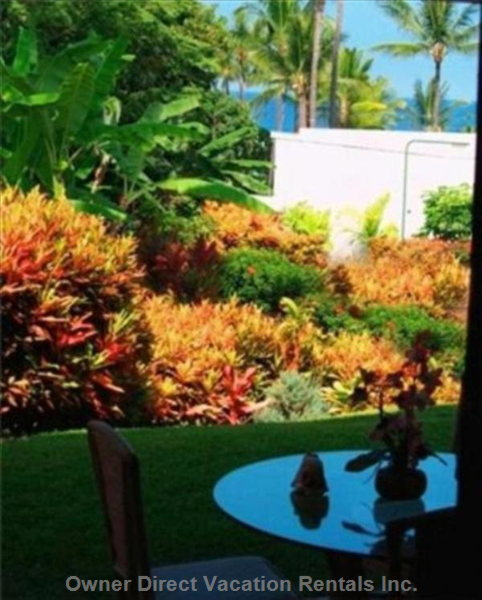Marble Tiled Lanai is Comfortably Furnished for Relaxation.  Modest Ocean View  over the Pool Area.