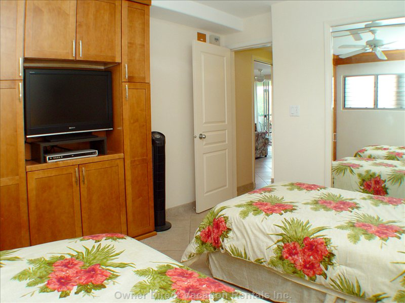 "Guest Bedroom - Lots of Cabinets for Storage. 32"" TV with DVD Player"