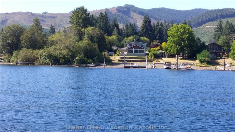 Beautiful 4 Bedroom Home on Lake Cowichan with its Private Beach, Dock and Swimming Area