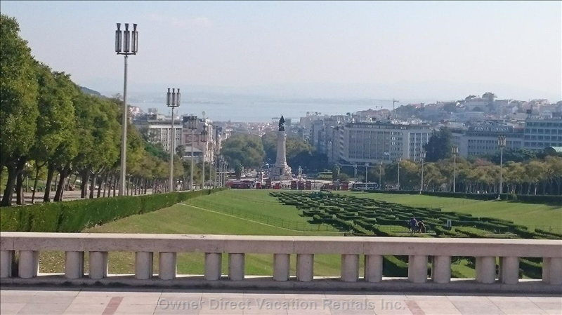 View from Top of Eduardo Vii Park Nearby and Marques Pombal Round about at Bottom of Park
