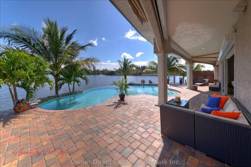 Large Patio/Pool Area Overlooking Beautiful Saltwater Lake Lupine