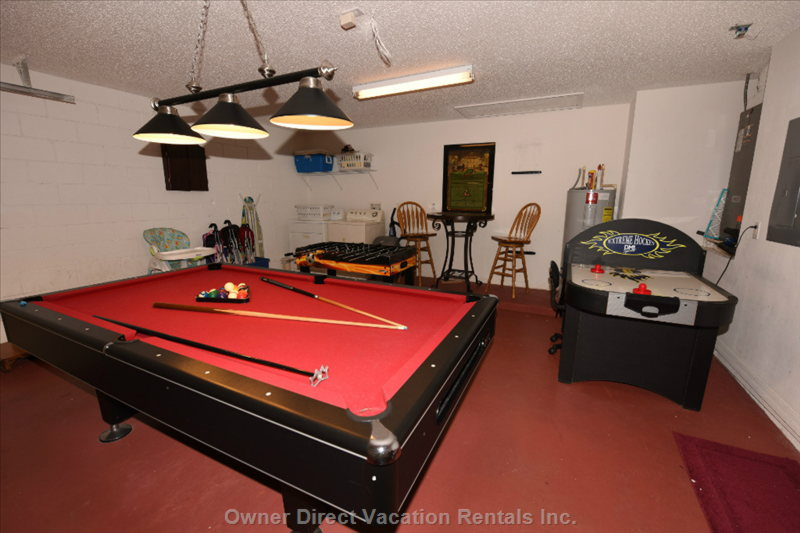 Game Room with Pro Size Pool Table, Foosball Table and Air Hockey Table