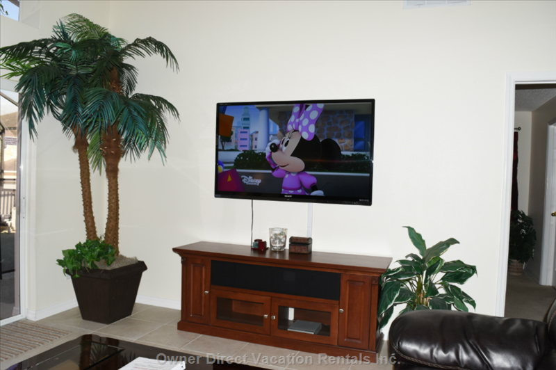 "Family Room with 60"" Sharp Aquos Led Tv for Excellent Picture Quality"