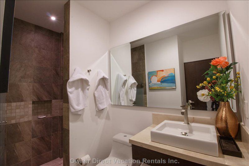 Both Bathrooms Have a Large Shower, Sink, Toilet, Hair Dryers and Full Length Mirrors