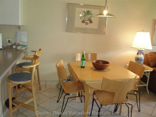 Bright, Large Dining Area; Table Expands to Seat 6 Comfortably, Breakfast Bar.