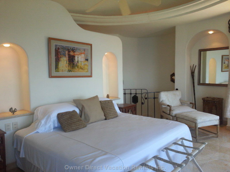 Casita Bedroom with King Bed.  Has Wraparound Windows with Amazing Views.