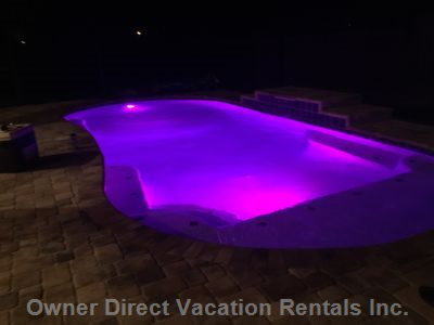 Pool W-Mood Lights to many, many Colors for Relaxing Night Swimming.