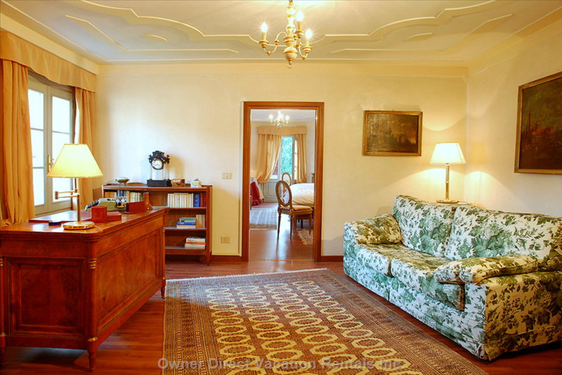 The Private Sitting Room is Funished with a Sofa and a Writing Desk and has a Stereo Cd Player.