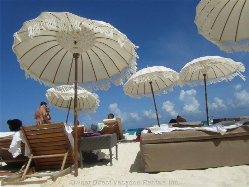 You Can Go to any Beach Club Or Restaurant on Beach and Eat and Drink and Get Bed and Lounges on Beach.