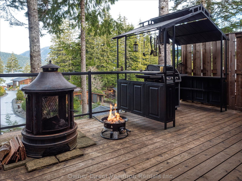 Covered Bbq, with Work Areas, Gas Fire Pit in Action, and Wood Fire Pit on Patio