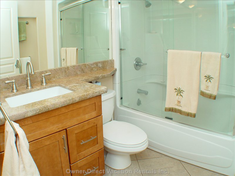Guest Bath with Tub and Shower.