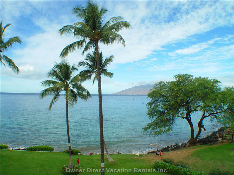 The View from our Lanai Towards Kamaole one Beach. - Views to West Maui Mountains, Island of Lanai and Endless Ocean and Sunsets.