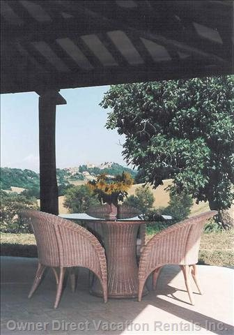 Private Covered Terrace with View to Proceno