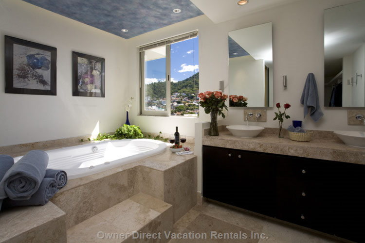 Aaahhhhhhh! - Master Bath: Double Sinks, Walk-in Closet, Jacuzzi with Designer Ceiling. Mountain View. Marble Shower with Safety Rail.
