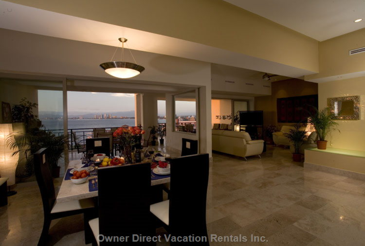 View from Kitchen: Dining, Living Rm, 2 Balconies. - Cooking in this Kitchen is Hardly Work, When you Have a View like this!