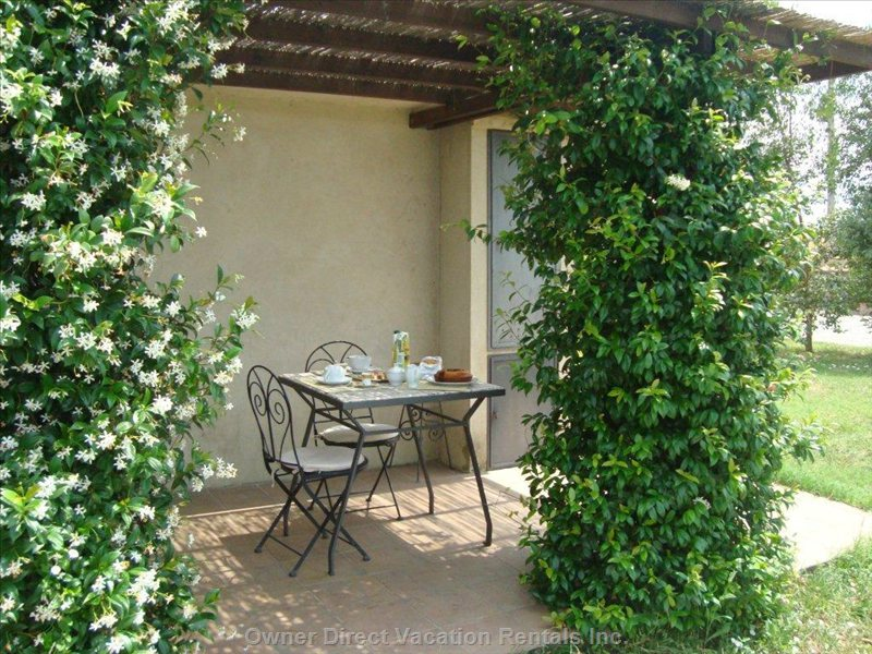 Private Trellis Terrace beside the Garden