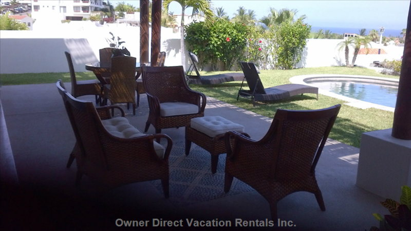 Enjoy Lounging Or Gathering on Patio with View of Pool and Sea of Cortez