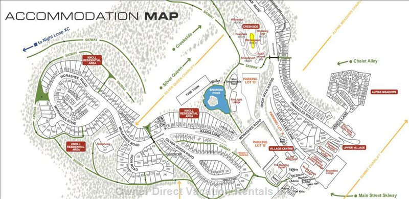 Map Layout of Silver Star.  Creekside is Close to Everything - no Need to Drive