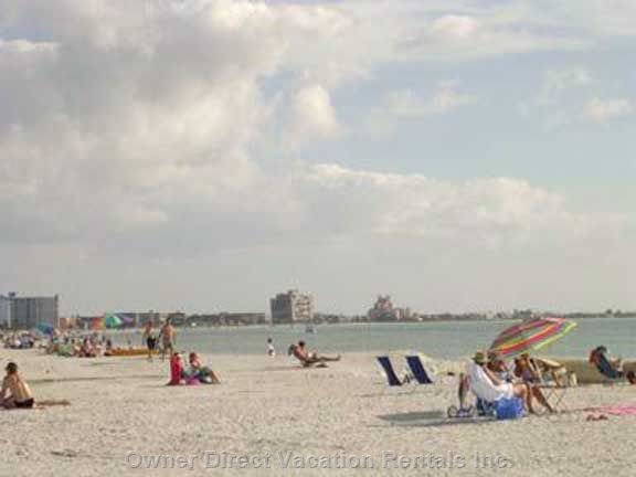Mid Day on St. Pete Beach on the Gulf of Mexico  (the Beach is Just over one Block from your Condo Door)