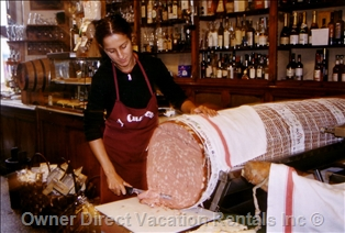The Thursday market in Caprignana for the biggest mortadella in town!