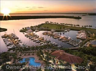 A marina dock in Cape Coral, Florida