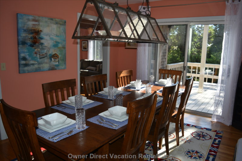 Dining Room Seats 8 plus 4 at Breakfast Bar and 4 in Sun Room, There is Seating for an Additional 8 on the Main Deck (Outdoors).