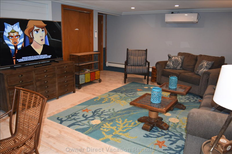 Lower Level Family Room with Queen Sleeper and Air Conditioning Lower Level Also has King Bedroom and Kitchen
