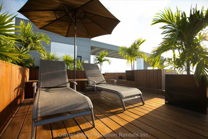Sun Loungers on the Rooftop Deck