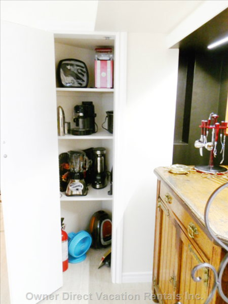 Closet with Extra Appliances , Slow Cooker , Expresso , Blender , Electric Martine Shaker ,Popcore Machine.