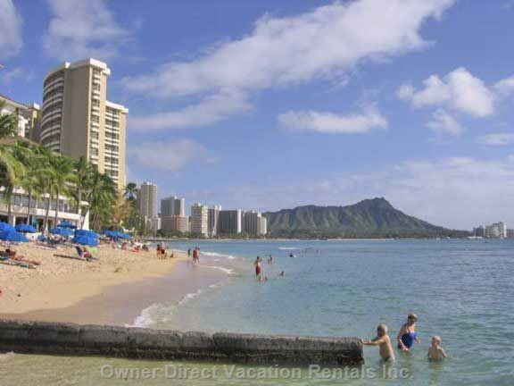 Waikiki Beach, with Diamond Head in Background