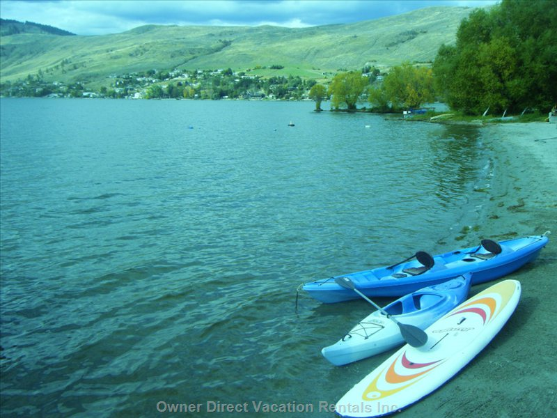 1 Person Kayak,2 Person Kayak, 2 Stand up Paddle Boards Now.. Free to Use at any Time.