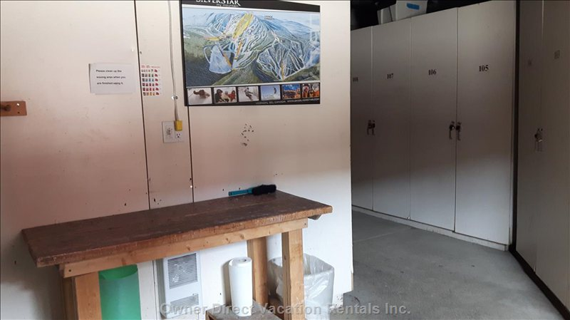 Waxing Table in Locked Ski/Bike Storage Area.