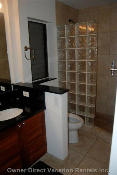 Tropical Bathroom with African Mahogany Cabinets, Black Granite, Tile